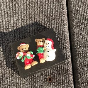 Set of Two Christmas Teddy Bear Pin